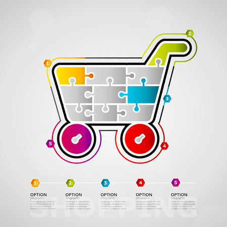 Five options shopping timeline infographic design with cart icon made out of jigsaw pieces.