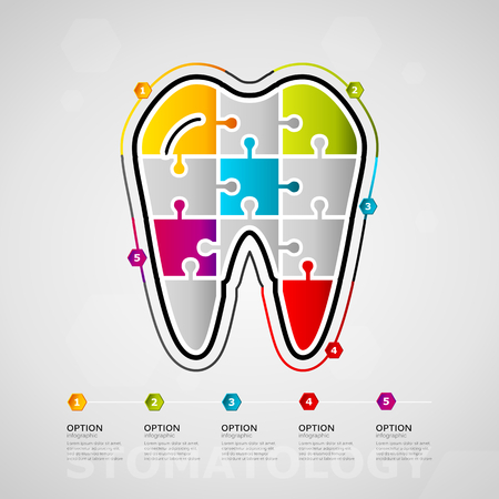 Five options Stomatology timeline infographic design with tooth icon made out of jigsaw pieces vector illustration
