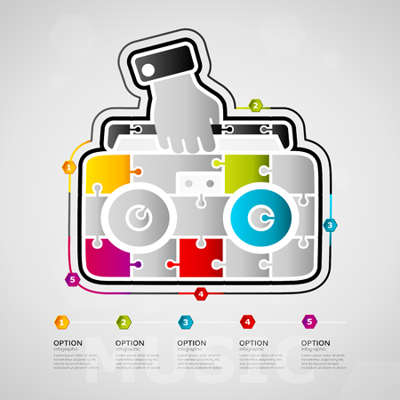 Five options Music timeline infographic design with stereo icon made out of jigsaw pieces vector illustration