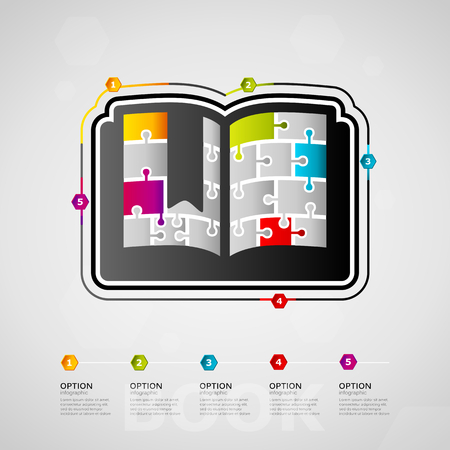 Five options Education timeline infographic design with Book icon made out of jigsaw pieces