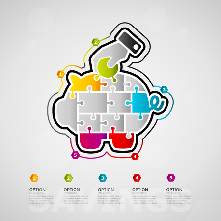 Five options Savings timeline infographic design with piggy bank icon made out of jigsaw pieces
