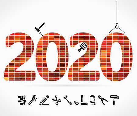 Build 2020 concept illustration with construction icons.