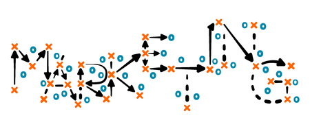 Marketing strategy concept vector with orange and blue marks on white tactic board