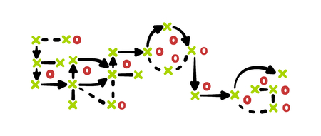 Success strategy concept vector with green and red marks on white tactic board Illustration