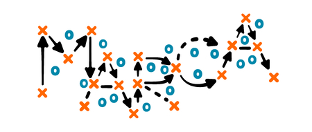 Brand strategy concept vector with orange and blue marks on white tactic board