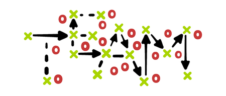 Team strategy concept vector with red and green marks on white tactic board Ilustração