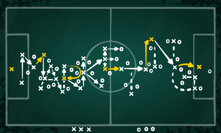 Marketing strategy concept vector with white and yellow marks on soccer tactic chalkboard Ilustração