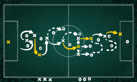 Success strategy concept vector with white and yellow marks on soccer tactic chalkboard