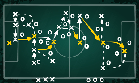 Brand strategy concept vector with white and yellow marks on soccer tactic chalkboard