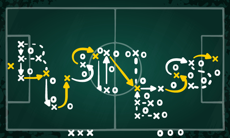 Business strategy concept vector with white and yellow marks on soccer tactic chalkboard