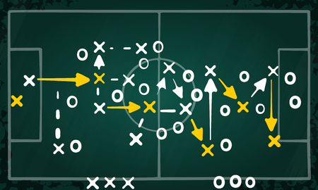 Team strategy concept vector with white and yellow marks on soccer tactic chalkboard Ilustração