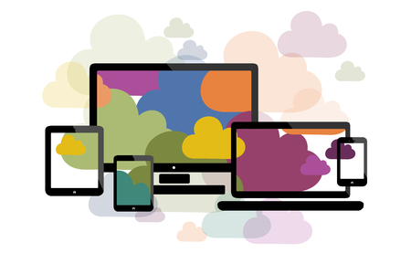 Cloud computing flat illustration with personal computer, laptop, touch screen phone, tablet and phablet