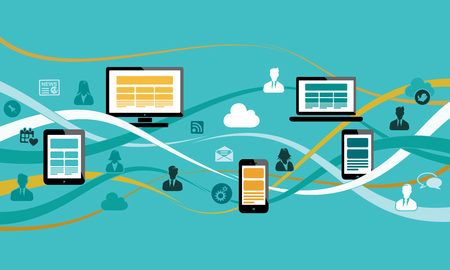 Internet concept illustration with ribbon waves, computer, laptop, mobile phone, tablet and avatar silhouettes. Flat design and punchy pastel colors