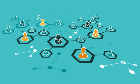 Internet network concept illustration with connected avatar silhouettes in grid. Flat design and punchy pastel colors