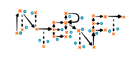 Internet strategy concept vector with orange and blue marks on white tactic board