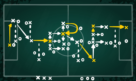 Internet strategy concept vector with white and yellow marks on soccer tactic chalkboard.