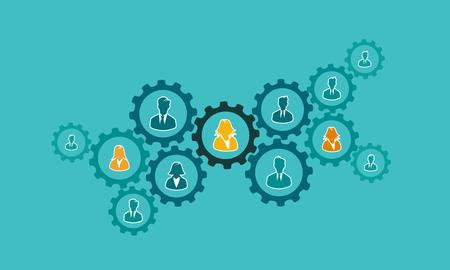 Business process concept illustration with gear cogs and avatar silhouettes. Flat design and punchy pastel colors