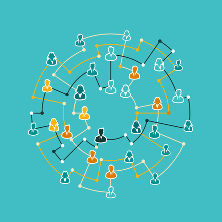 Business network concept illustration with network dots and avatar silhouette. Flat design and punchy pastel colors