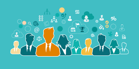 Business people concept illustration with business icons and avatar silhouettes. Flat design and punchy pastel colors