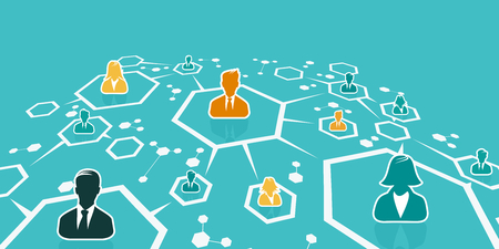 Business network concept illustration with abstract net and avatar silhouettes. Flat design and punchy pastel colors