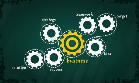Business concept vector with white and yellow gear cogs hand drawn on chalkboard