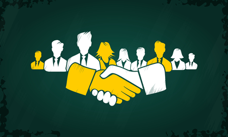 Shake hands concept vector with white and yellow hand icons and people silhouettes drawn on chalkboard.