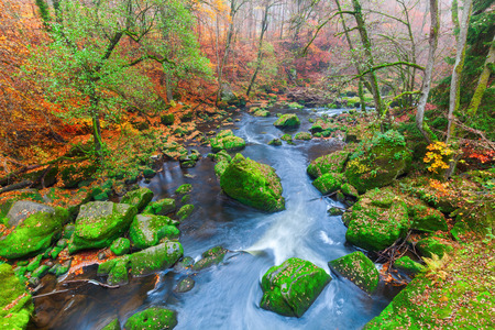 uplands: landscape at the Irrel Cascades at the river Pruem in the Eifel, Germany