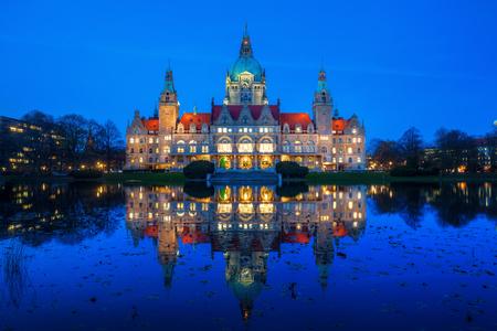 하노버, 독일의 새로운 시청 스톡 콘텐츠