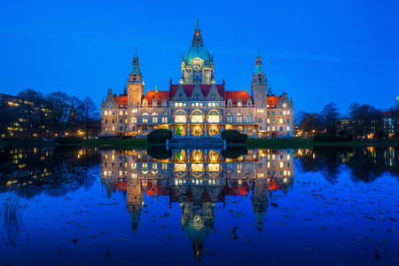 historical reflections: New City Hall in Hanover, Germany