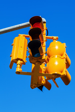 typical: typical yellow traffic lights in New York City