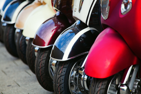 scooter wheels in a row