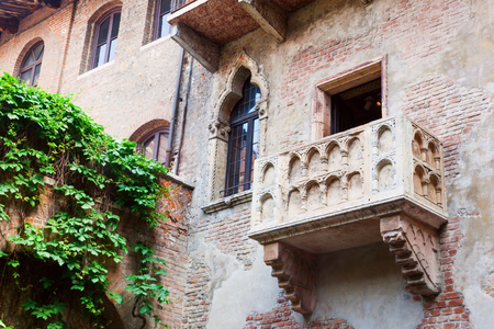 romeo and juliet: balcony of the home of Juliet, the character in the famous tragedy of Shakespeare, in Verona, Italy