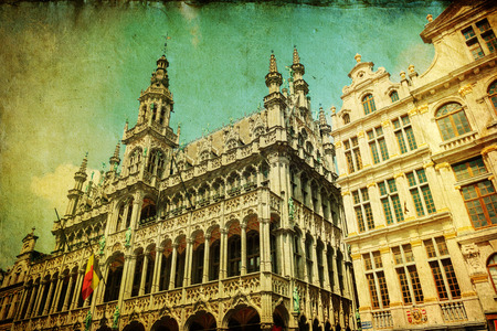 guildhalls: vintage style picture of the Grand Place in Brussels, Belgium