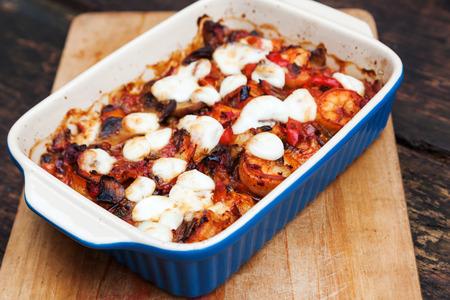 casserole: shrimp casserole gratinated with mozarella