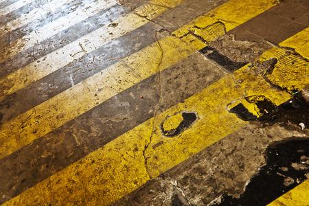 zebra crossing: urban alley with yellow zebra crossing