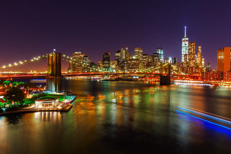 view to the Brooklyn Bridge and Manhattan, NYC, at night
