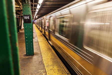 blur subway: picture with the subway in Manhattan, NYC, in motion blur Stock Photo