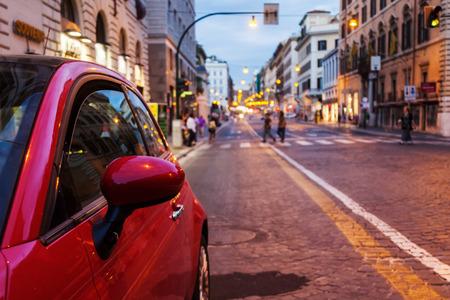 streetscene: streetscene of a city at night