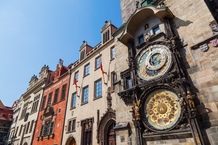 low angles: old clock tower in Prague, Czech Republic