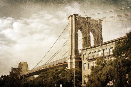 ニューヨークのブルックリン橋のビンテージ スタイル画像
