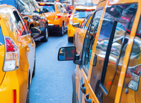 Traffic jam with yellow cabs in New York City