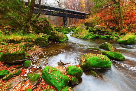 uplands: landscape at the Irrel Cascades at the river Prm in Eifel, Germany