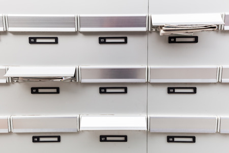 mail slot: mailboxes of an apartment building