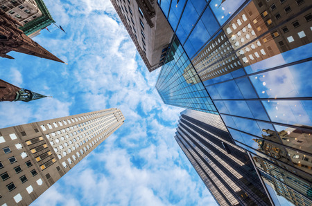 skyscrapers in downtown Manhattan, NYC, in a low angle view