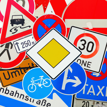 go ahead: collage from German traffic signs Stock Photo