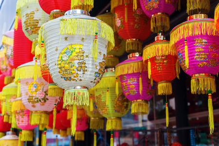 Chinese lanterns in Chinatown, Manhattan, New York City Stock Photo