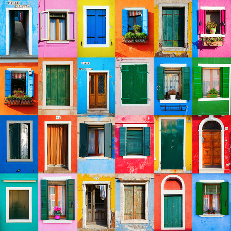 collage of colorful windows and doors in Burano