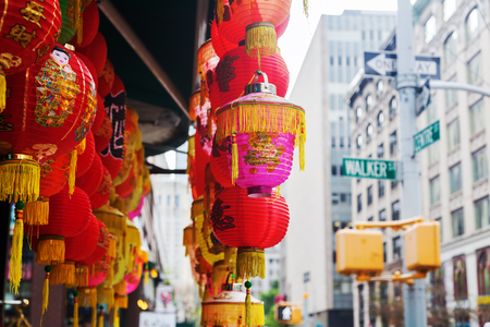 Chinese Lantaarns bij een winkel in Chinatown, Manhattan, NYC Stockfoto