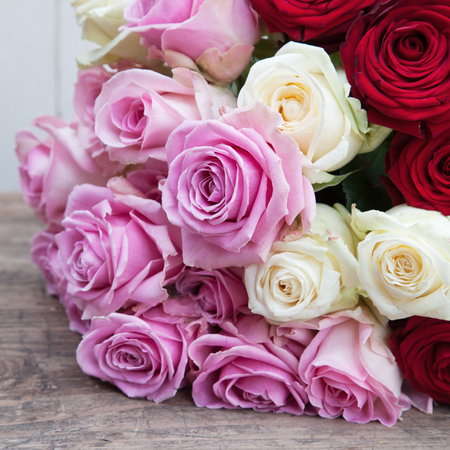 rose bouquet: bouquet of pink, white and red roses