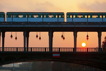 bir: Pont de Bir Hakeim in Paris, France, at sunset Stock Photo